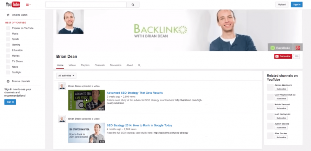 backlinko-old-youtube-channel