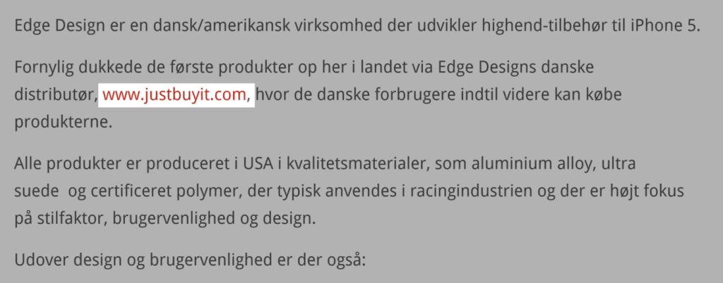 Danimarka'ya ait olan bir haber sitesinden alınan backlink