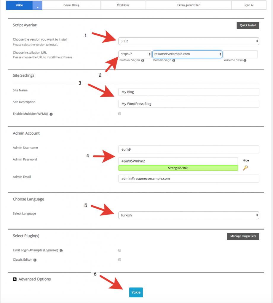 Turhost WordPress Kurulum Ayarlarının Yapılandırılması